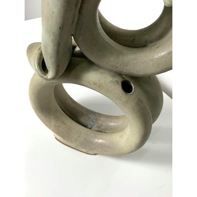 Gray 1970s Vintage Tubular Studio Pottery Signed Vase For Sale - Image 8 of 11