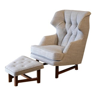 Janus Wing Chair and Ottoman by Edward Wormley for Dunbar Circa 1957 For Sale