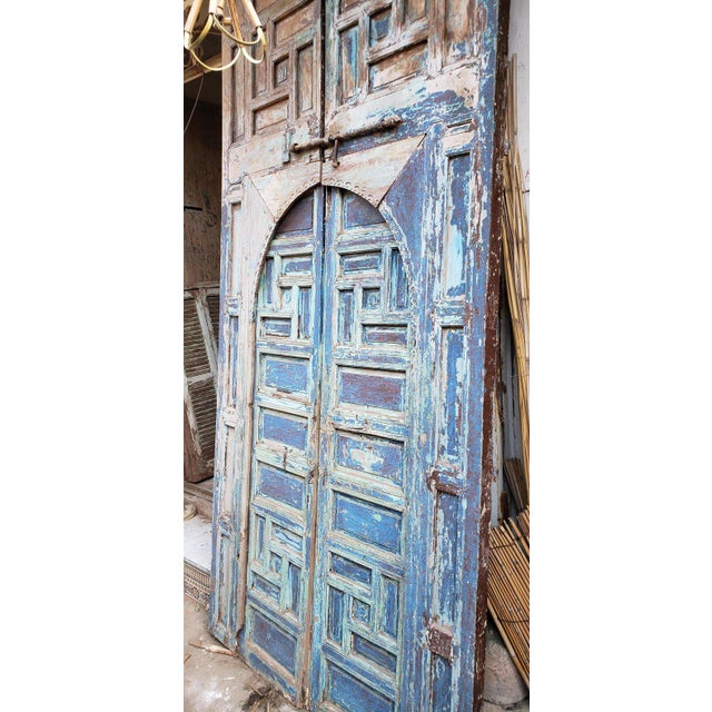 Islamic 1940s Vintage Moroccan Old Hand Painted Double Door For Sale - Image 3 of 8