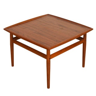 "Teak Raised Lip Edge 28"" Square Coffee Table by Grete Jalk For Sale"