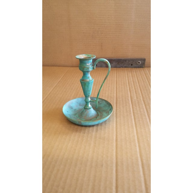 Rustic Vintage Bronze Candle Holder II For Sale - Image 3 of 4