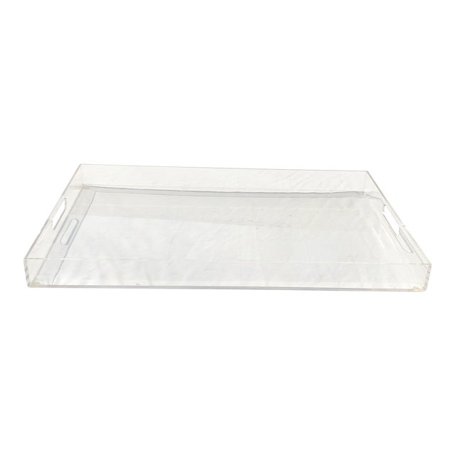 Large Lucite Tray With Cutout Handles For Sale