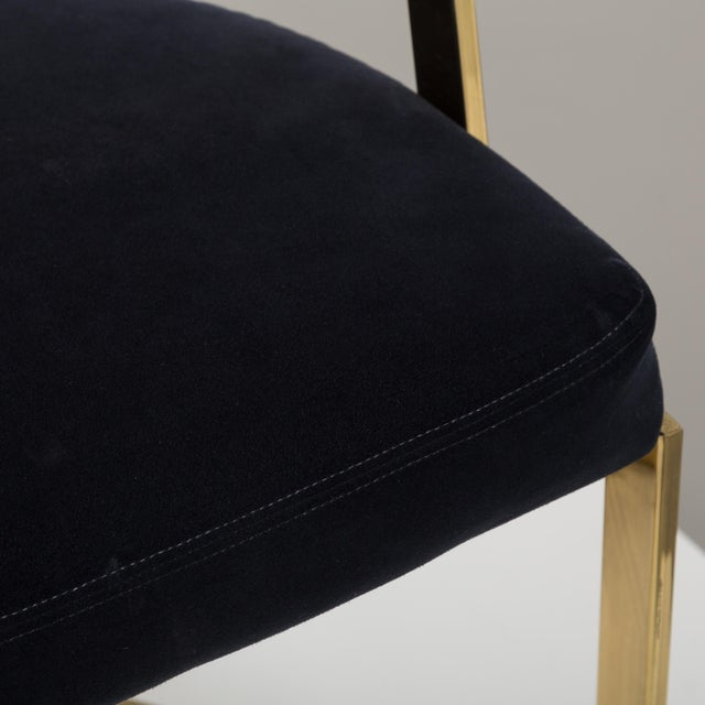 Gold A Counter Height Brass Framed Upholstered Chair 1980s For Sale - Image 8 of 8