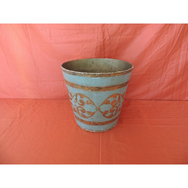 Vintage Florentine Turquoise and Gold Wastebasket For Sale In Miami - Image 6 of 6