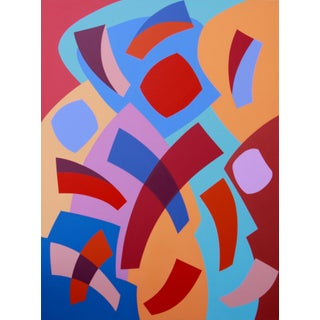 """""""The Mysterious Object of Fascination"""" Contemporary Geometric Hard Edge Acrylic Painting by Sassoon Kosian For Sale"""