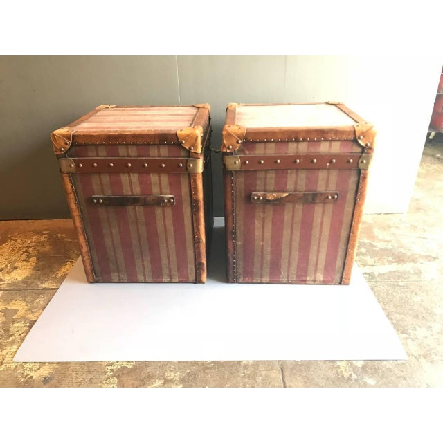 Pair of French Canvas and Leather Hat Trunks, Late 19th Century For Sale - Image 4 of 10