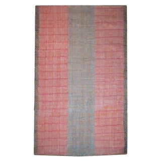 Cotton 'Dhurrie' Pink Tribal Batik Pattern Rug - 6′6″ × 10′ For Sale