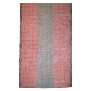 'Dhurrie' Tribal Pink Cotton Batik Pattern Rug - 6′6″ × 10′ For Sale