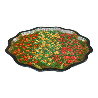 Vintage Pie Crust Kashmir Tray For Sale