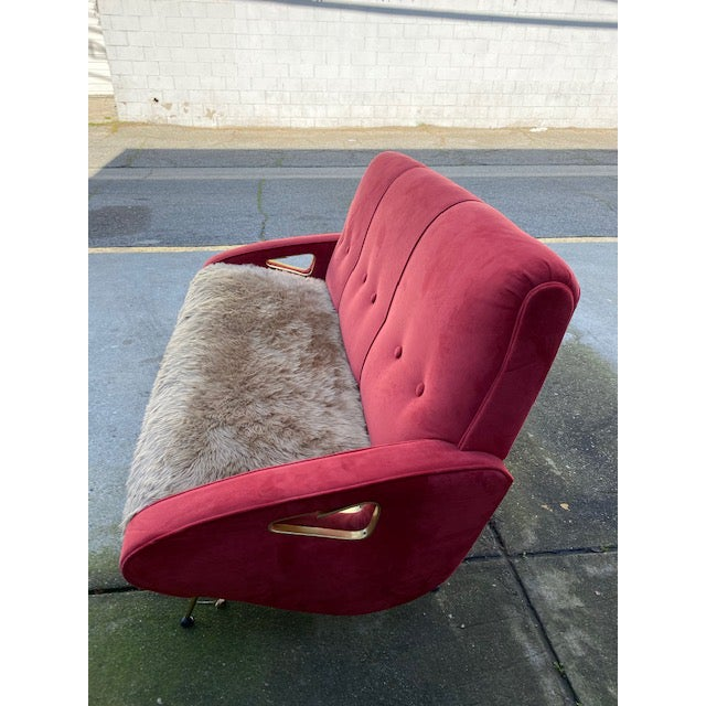 Metal Exuberant Maurice Mourra Mid-Century Sofa For Sale - Image 7 of 10