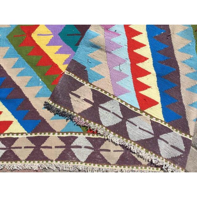 Blue Vintage Turkish Kilim Rug For Sale - Image 8 of 10