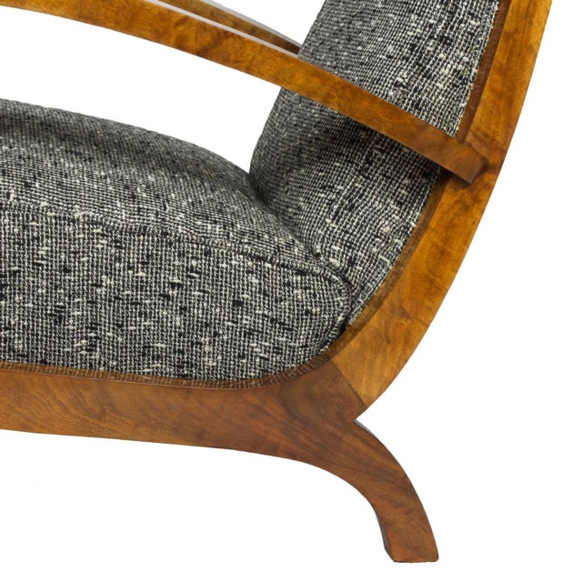 Brown 1930s Pair of Art Deco Armchairs, Walnut, Wool, Italy For Sale - Image 8 of 11