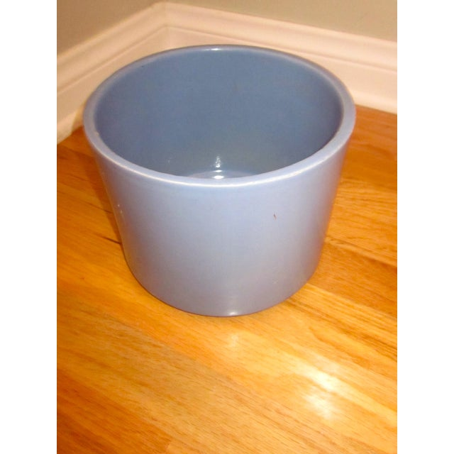 Mid-century modern cylindrical powder light blue AC-8 S Gainey Ceramics planter. Made by Gainey Ceramics. Manufactured in...