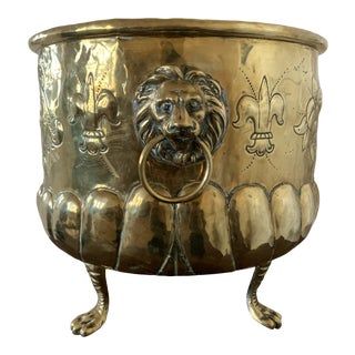 Late 19th Century French Brass Log Bucket For Sale
