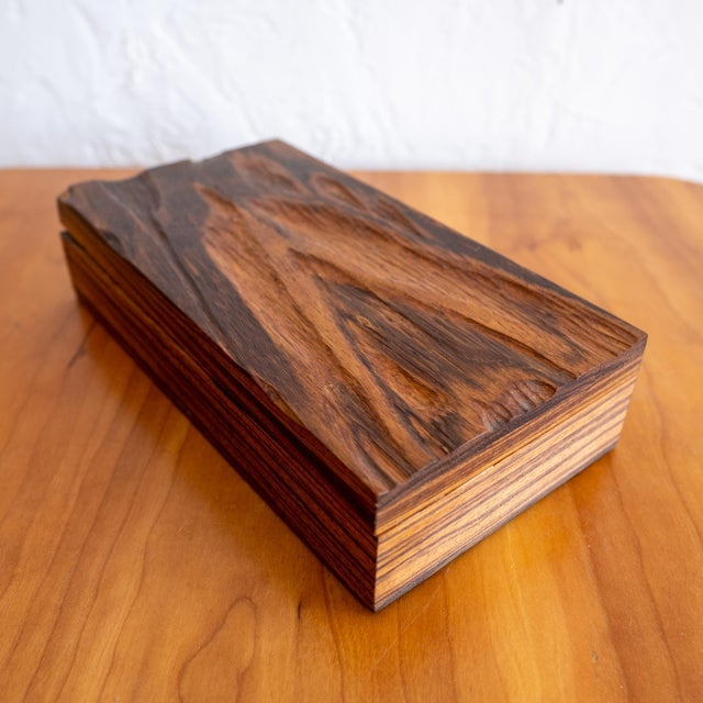 Mid-Century Modern Robert Trout Wood Jewelry Box With Liner, 1965 For Sale - Image 3 of 9
