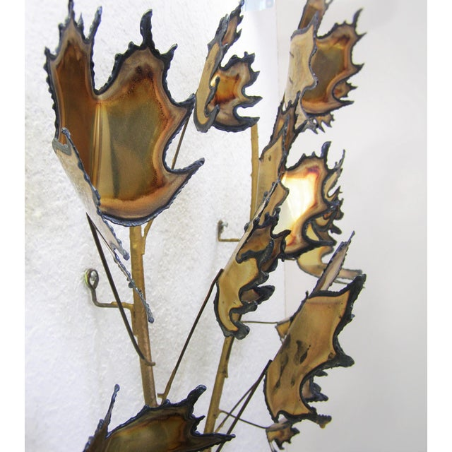 Curtis C. Jere Style Mid-Century Modern Brutalist Brass Wall Sculpture MCM - Image 10 of 11