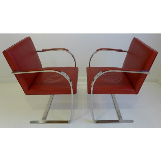 Contemporary Vintage Pair of Knoll Brno Chairs in Red Leather For Sale - Image 3 of 9
