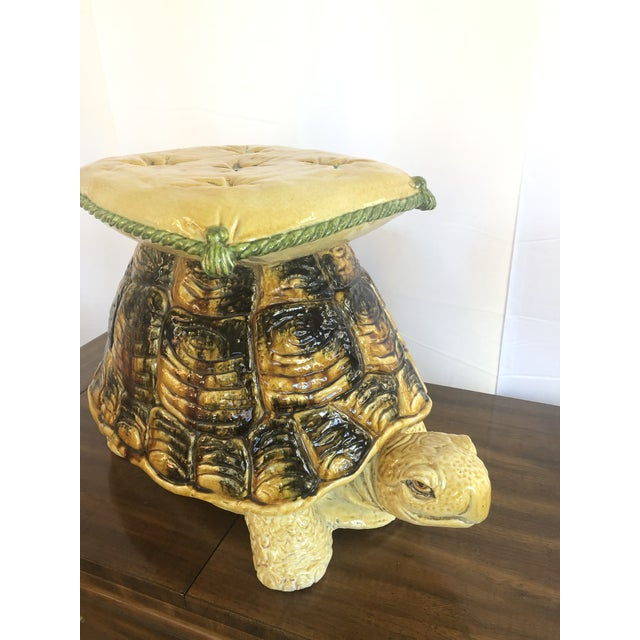 Vintage Italian Turtle Garden Stool Glazed Painted Terra Cotta For Sale In Atlanta - Image 6 of 12