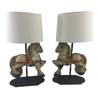 19th Century Tin Horses Transformed Into Lamps - a Pair For Sale