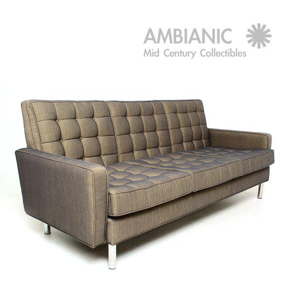 For your consideration a Mid-Century Modern sofa with chrome legs. Three-seat sofa with new upholstery. No label present...