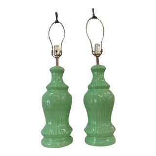 Grasshopper Green Ceramic Lamps - A Pair