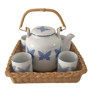 Vintage Blue & White Butterfly Design Japanese Tea Set & Basket For Sale