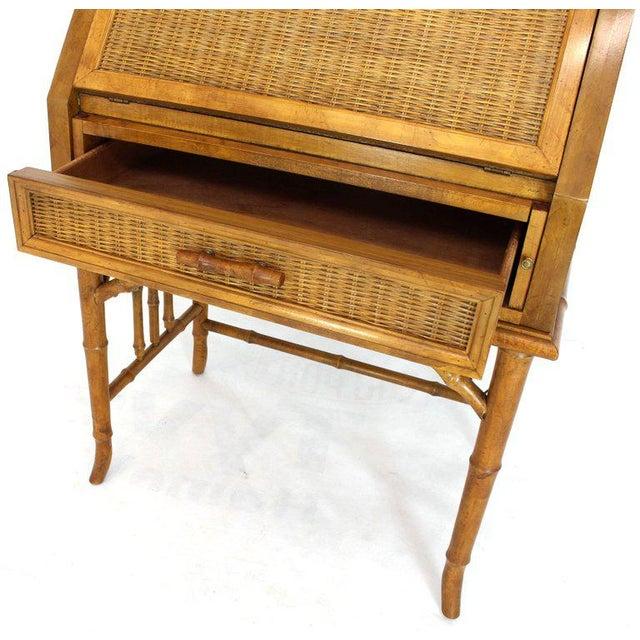 1970s Mid-Century Modern Faux Bamboo Rattan Light Fruitwood Finish Secretary Desk For Sale - Image 4 of 14