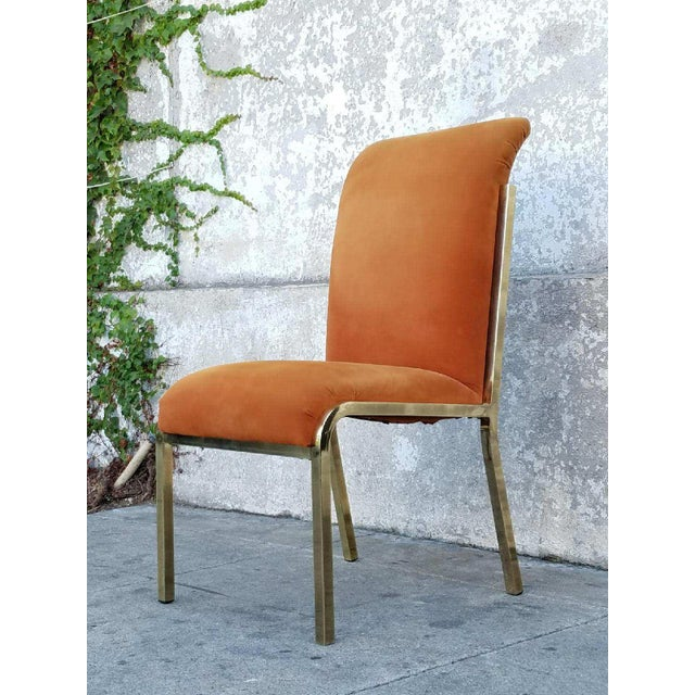 Vintage Brass & Velvet Dining Chairs - Set of 4 - Image 5 of 7