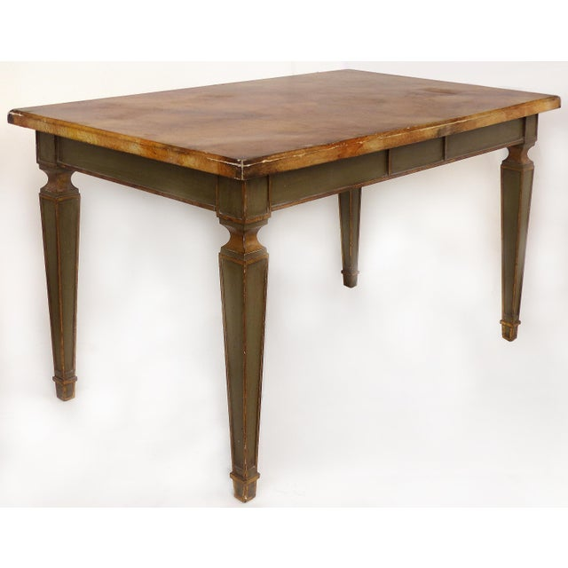 Faux Painted Writing Library Table with Green and Gilt Tapering Legs Offered for sale is a faux-finished writing or...
