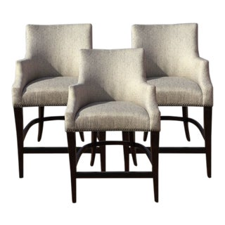 Modern Bernhardt Custom Fabric Counter Stools- Set of 3 For Sale