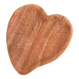 Wood Carved Heart Shaped Bowl For Sale