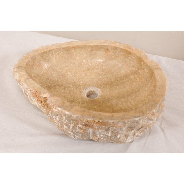 Natural Carved Onyx Sink Basin in Taupe Color For Sale - Image 9 of 12