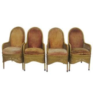 Heywood Wakefield Gold & Velvet Deco Wicker Chairs, 1930s - Set of 4