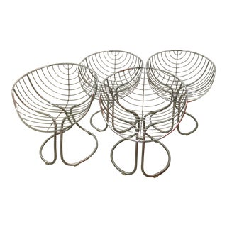Italian Chrome Mid-Century Dining Chairs - Set of 4