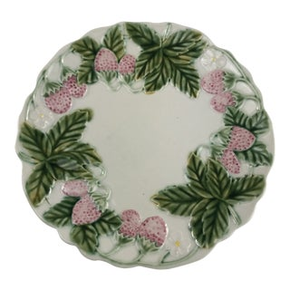 Vintage Bordallo Pinheiro Majolica Strawberry Serving Plate For Sale