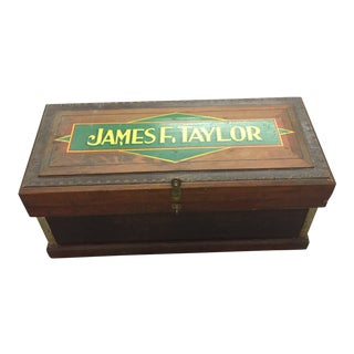 Antique Folk Art Pine Box With 'James F Taylor' Hand Painted Lettering For Sale