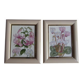 Vintage Floral Cross Stitch Artworks - A Pair For Sale