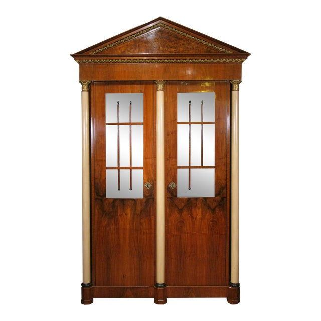 Antique 19th Century Biedermeier Cabinet With Fitted Interior For Sale