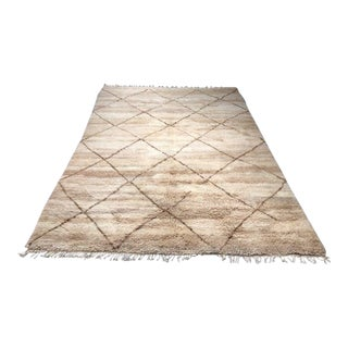 1990s Moroccan Hand-Knotted Beni Ourain Area Rug - 5′ × 8′4″ For Sale