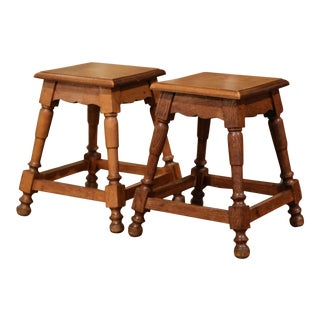 Pair of Midcentury French Louis XIII Carved Oak and Walnut Stools For Sale
