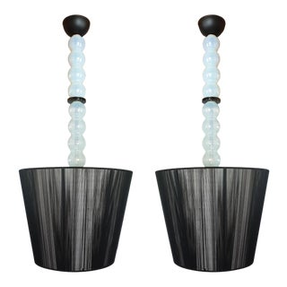 Pair of Mid Century Modern Italian Murano Glass and Shades Chandeliers For Sale