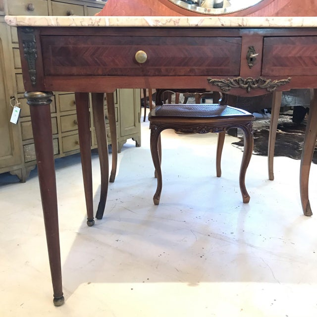 French Early 20th Century French Louis XVI Style Marble Top Dressing Table or Vanity For Sale - Image 3 of 12