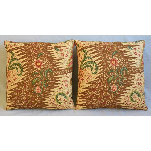 """Pair of large custom-tailored pillows in a vintage French Pierre Frey cotton fabric called """"La Riviere Enchatee"""" from..."""