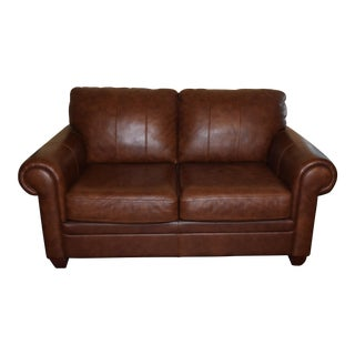 Ethan Allen Brown Leather Loveseat
