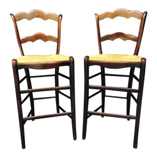 Country French Cherry Rush Seat Bar Stools - a Pair For Sale