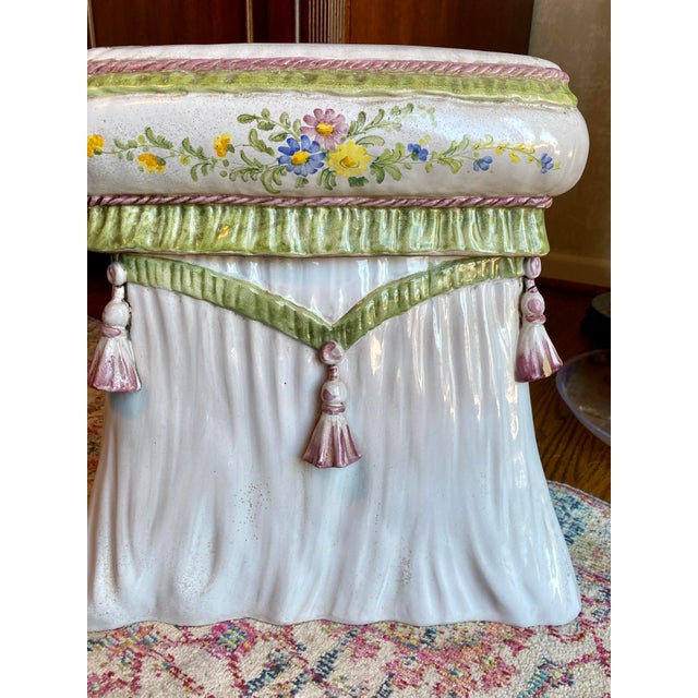 Italian Italian Hand Painted Terracotta Garden Stool For Sale - Image 3 of 13