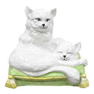 Vintage Italian Hollywood Regency Two Cats on a Pillow Glazed Terracotta Sculpture For Sale