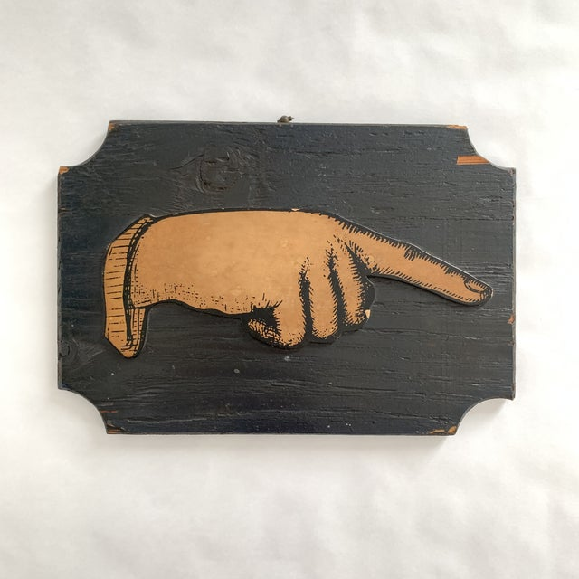 Mid 20th Century Vintage Pointing Hand Sign For Sale - Image 5 of 5