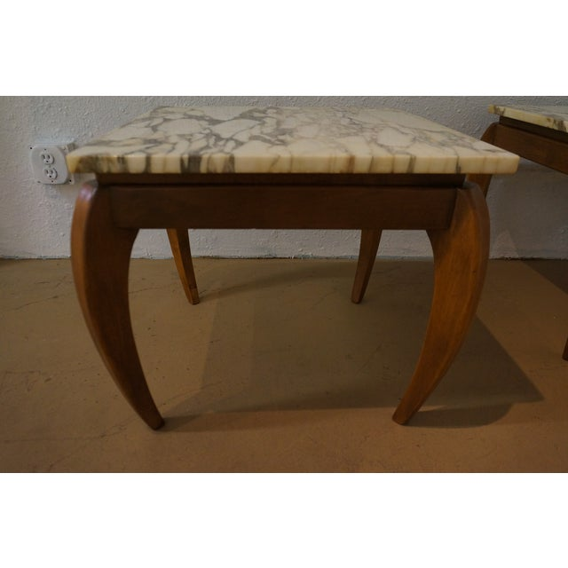 Mid-Century Marble and Walnut Side Tables - A Pair - Image 6 of 10