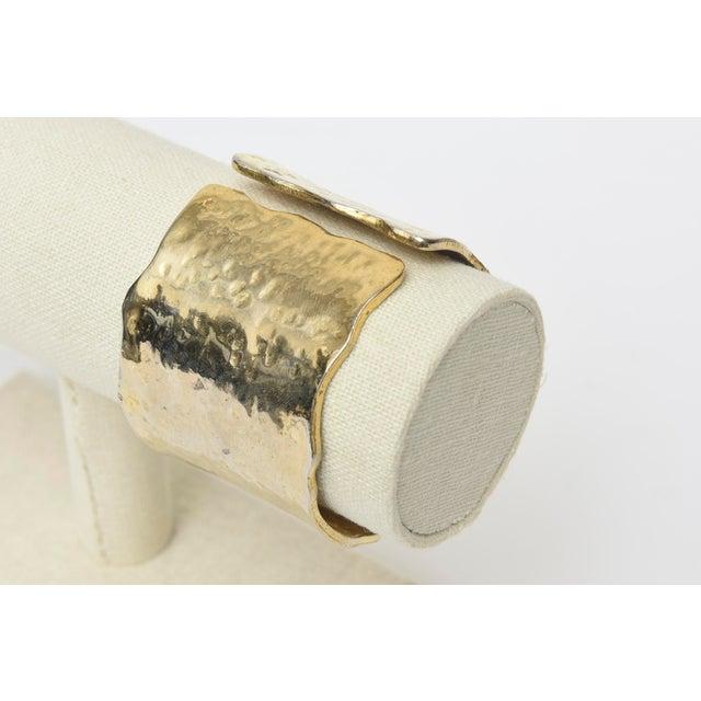 Metal Vintage Gold Metal Hammered Hinged Cuff Bracelet For Sale - Image 7 of 9